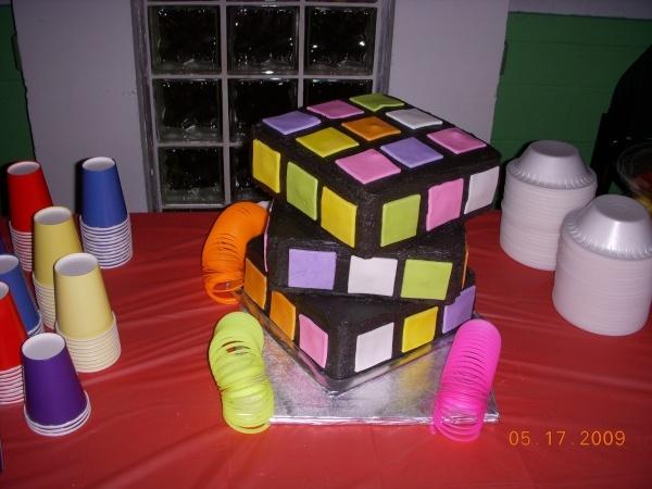 Rubix Cube Cake for 80's Birthday Party Theme