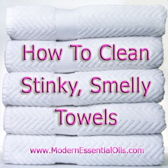 Wash 1: 1 cup vinegar on hot cycle wash 2:  1/2 cup baking soda normal cycle dry: dry completely and done!!! I do this to all my stinky towels