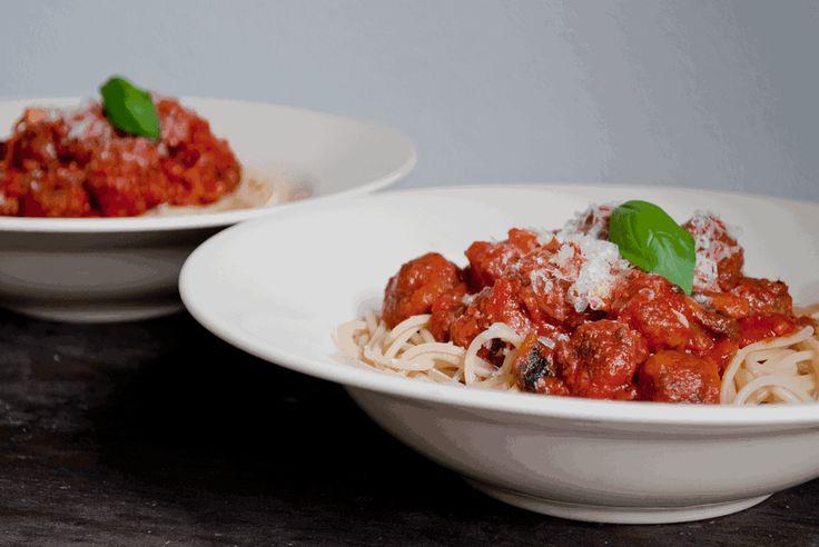 Spaghetti met kleine gehaktballetjes