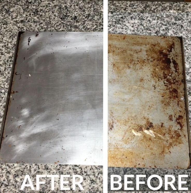 She covers a cookie sheet in baking soda for a trick we've never seen