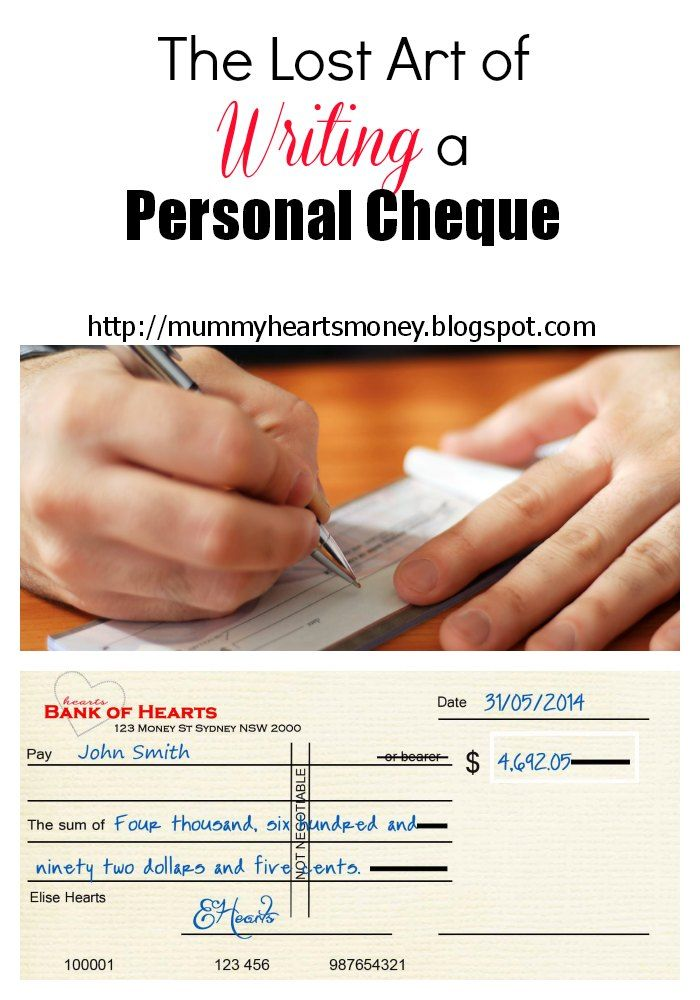 Too many of us have lost the understanding or technique to writing a personal cheque. Mummy Hearts Money gives you a guide