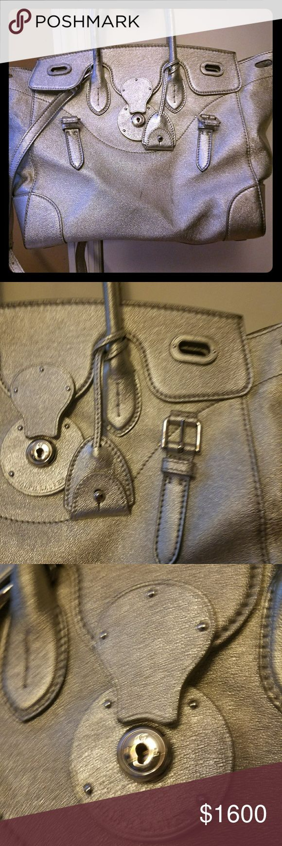 Ralph Lauren Metallic Ricky Bag Large metallic silver tote with removable strap and cloth storage bag Ralph Lauren Bags Totes