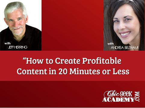 [webinar] How to Create Prospect & Profit Generating Content in 20 Minutes or Less with Jeff Herring and Andrea Beltrami.  If learning while having a blast isn't your thing you'll want to skip this one!  Grab your seat ==>http://bit.ly/1fZ9CTm
