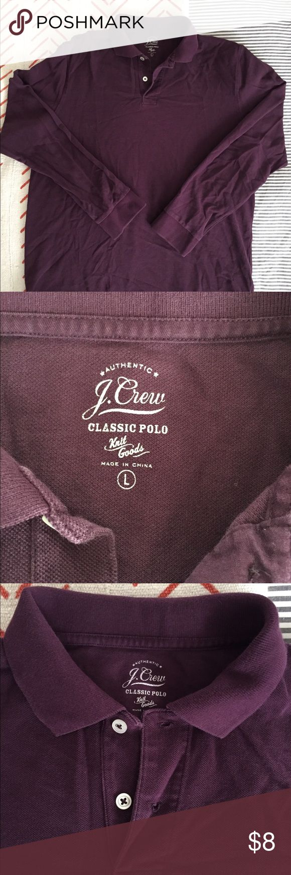 J. Crew men's size large purple polo shirt Barely worn, very clean men's J. Crew Classic Polo shirt in dark purple. Size Large. Long sleeves. No stains. Style was meant to have washed and worn look when new. Classic fit, not cut slim. Actual shirt color matches the darker photos shown. Non smoking home. J. Crew Shirts Polos