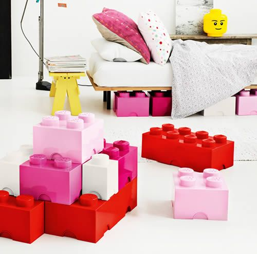 Giant LEGO Brick Storage Boxes - Baby Pink, Hot Pink, Red, White - Extra Small, Small, Medium, Large - Bedroom