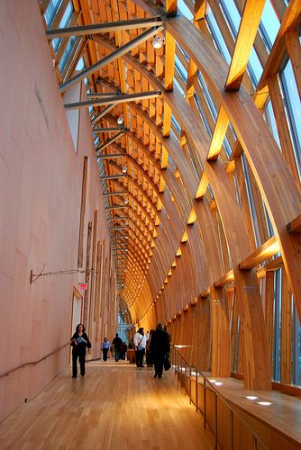 Beautiful Glulam curtain wall.