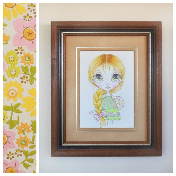 Big Eyed Art Print 5x7 - Pop Surrealism Art, Cute Candy Girl, Lowbrow Art, Lollipop, Vintage Style, Blythe Doll Drawing - By Nicole Clements