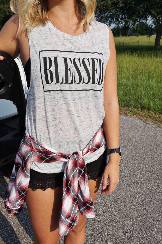 Women's Blessed Muscle Tank    Women's by ShopLovebirdBoutique