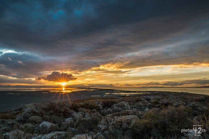 Coucher de soleil sur le Grand Lac Salé / Sun set on the Great Salt Lake