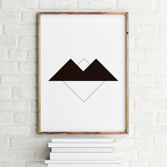 Geometric art poster Black Twin Peaks / Printable by MBmindbackup