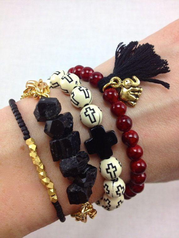 Crimson and Black Boho Bracelet Stack Set, #bracelets, #stacked, #armcandy, #cross