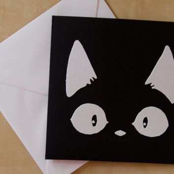 Card - Black Cat - Handmade Fabric Card - Cute Kitten - Happy Birthday Card - Kitty Cat - Thanks Card - Congratulations - Card for Cat Lover