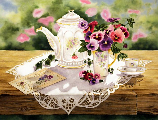 Victorian Teapot and Pansies by Mary Irwin