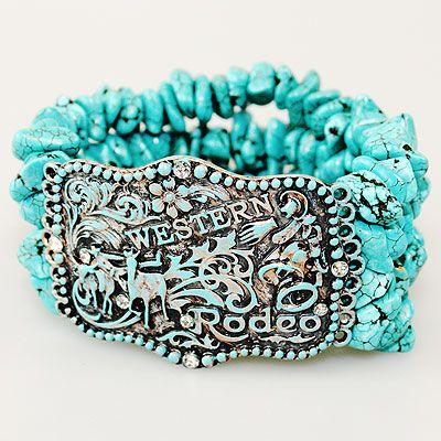 Western Chunky Turquoise Bracelet-chunky turquoise bracelet, western bracelet, stretch bracelet