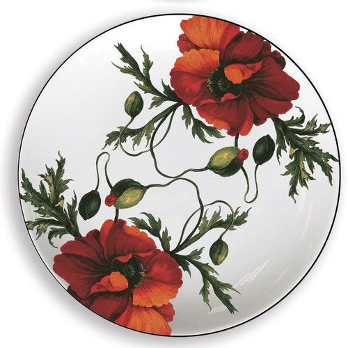 "October Hill Papaver 6 25"" Melamine Appetizer Plates Set of 4 