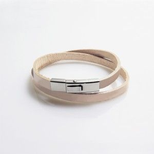 Leather wrap bracelet with stainless steel clasp - Nature