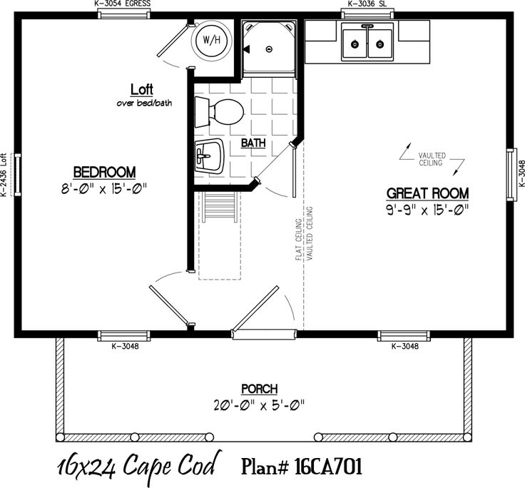 16 39 x 24 39 with 5 39 x 20 39 porch house plans pinterest Small cabin blueprints free