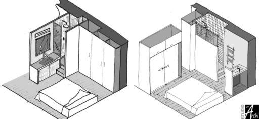 Mini salle d'eau dans une chambre | Studio d'archi