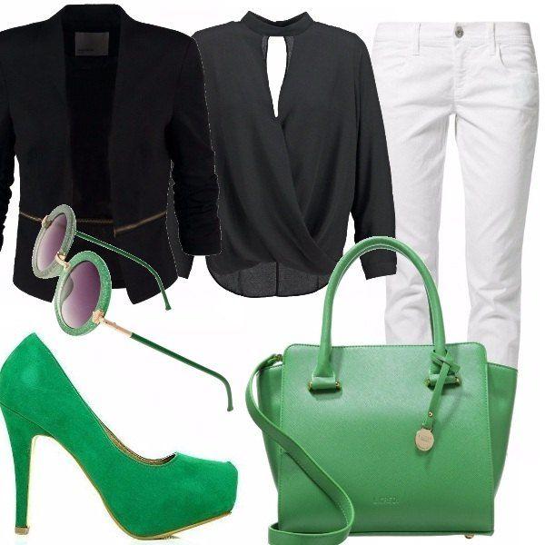Outfit molto formale per il lavoro, pantalone bianco, camicia nera a maniche lunghe e giacca. Per gli accessori giochiamo sul colore, un verde acceso!