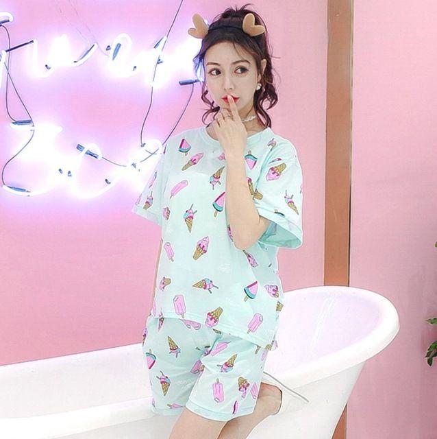 747,78 руб.  Укороченные штаны + топы с короткими рукавами пижамы наборы хлопчатобумажная одежда для сна больших размеров M XXL Пижама с рисунком Женская летняя обувь пижамы 2 шт./компл. купить на AliExpress