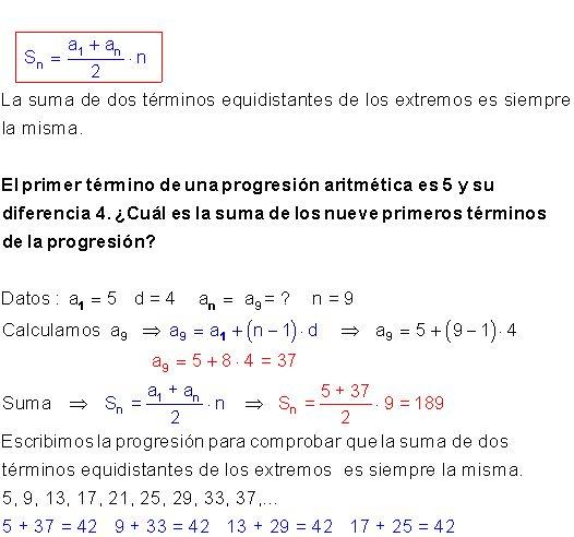 progresión aritmética