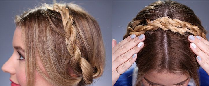 Milkmaid braids are making a comeback, and we were recently inspired by Nicole Richie's twisted crown. So why not combine the two? Give regular milkmaid braids a twist with this supersimple DIY hairstyle.  On Kirbie: Sandro and Banana Republic tops