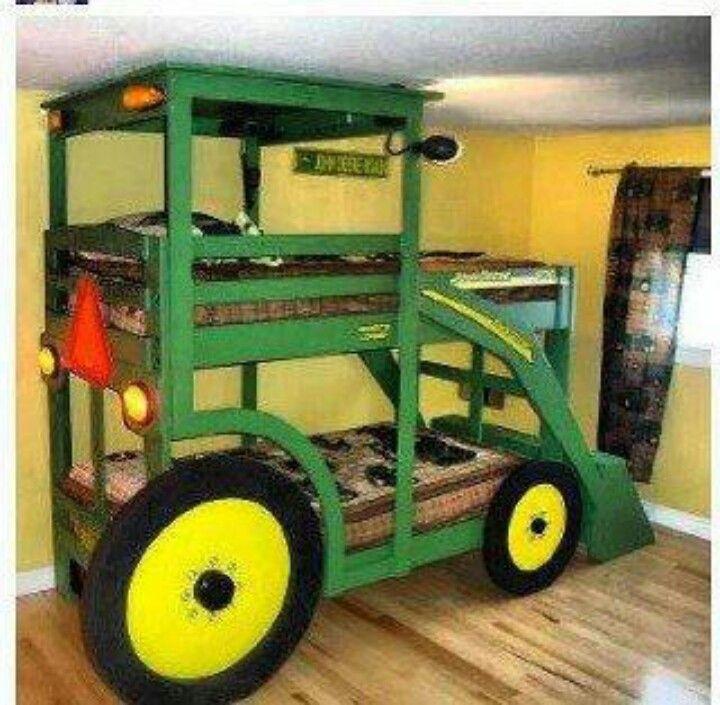 Kid country room.  John Deer bunk beds