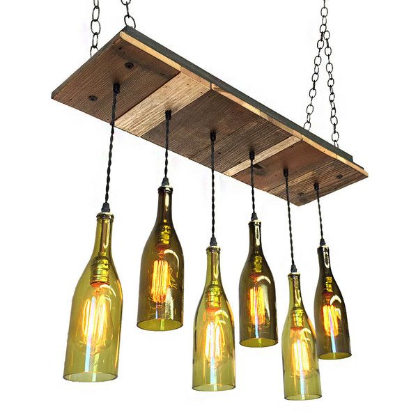 Dining Chandelier Reclaimed Wood With 6 Wine Bottle Pendants Light... ($595) ❤ liked on Polyvore featuring home, lighting, ceiling lights, chandeliers & pendant lights, home & living, silver, rustic lamps, rustic pendant lighting, rustic lighting and recessed light