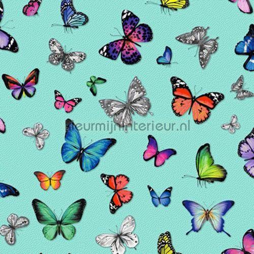 Butterflies turquoise behang 138537, Brooklyn Bridge van Esta home