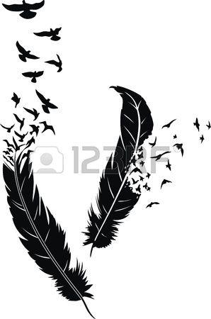 Deux plumes stylisées avec des oiseaux de diffusion dans la forme d'un tatouage Banque d'images