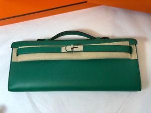 62f8b39d9a NEW Hermes Kelly Cut evening Clutch Bag vert vertigo Swift PHW Silver  leather