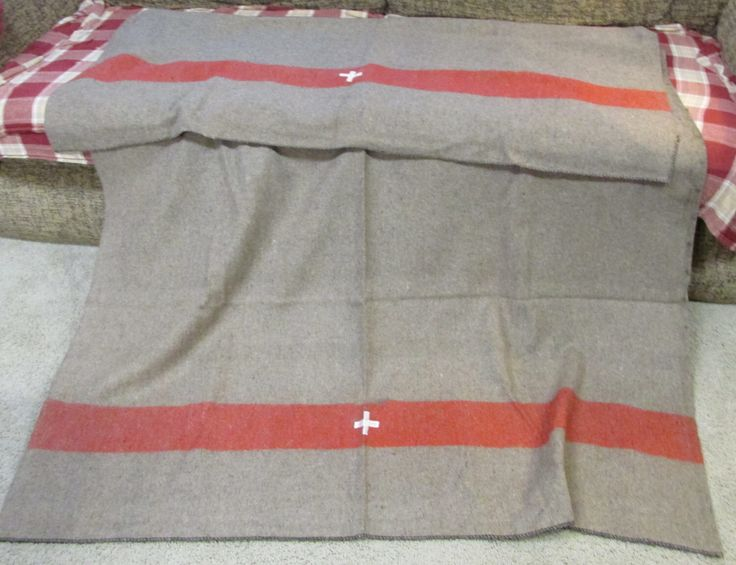 Wool Swiss style army surplus blanket grey brown with red stripe and white cross camp medic military retro by paintallday on Etsy https://www.etsy.com/listing/165496371/wool-swiss-style-army-surplus-blanket