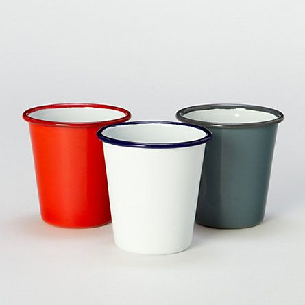 Enamelware Tumbler | terrain: Enamels Tumblers, Drinks Glasses, Dining Dinnerware, Outdoor Living, Enamelware Tumblers, Clean Line, Falcons Enamelware, Picnics Baskets, Kitchens Storage