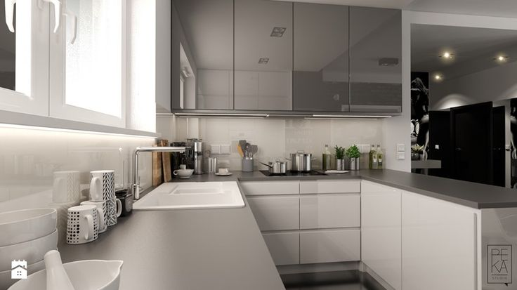 PORTFOLIO - Mała otwarta kuchnia w kształcie litery l w aneksie z wyspą, styl nowoczesny - zdjęcie od PEKA STUDIO