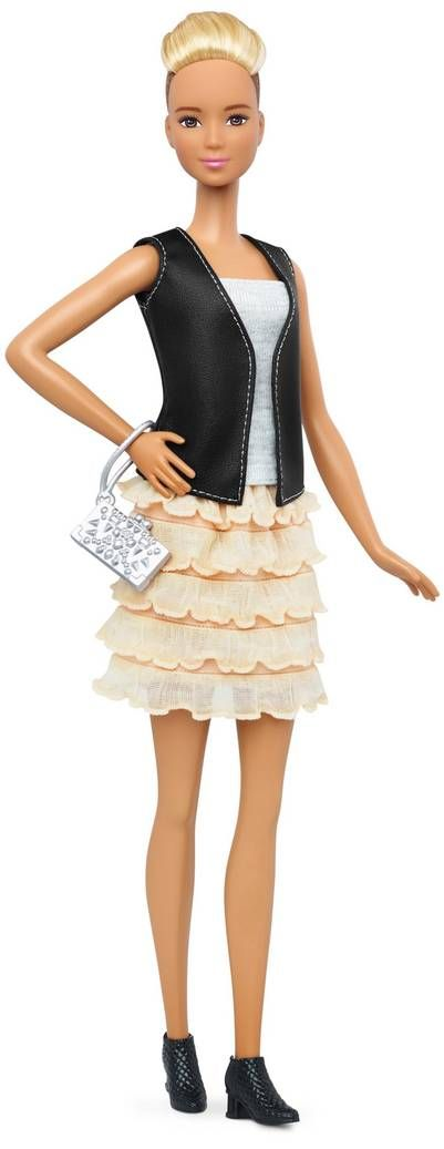 This photo provided by Mattel shows a new, tall Barbie Fashionista doll introduced in January 2016. Mattel, the maker of the famous plastic doll, said it will start selling Barbie's in three new body types: tall, curvy and petite. She'll also come in seven skin tones, 22 eye colors and 24 hairstyles. (Mattel via AP)