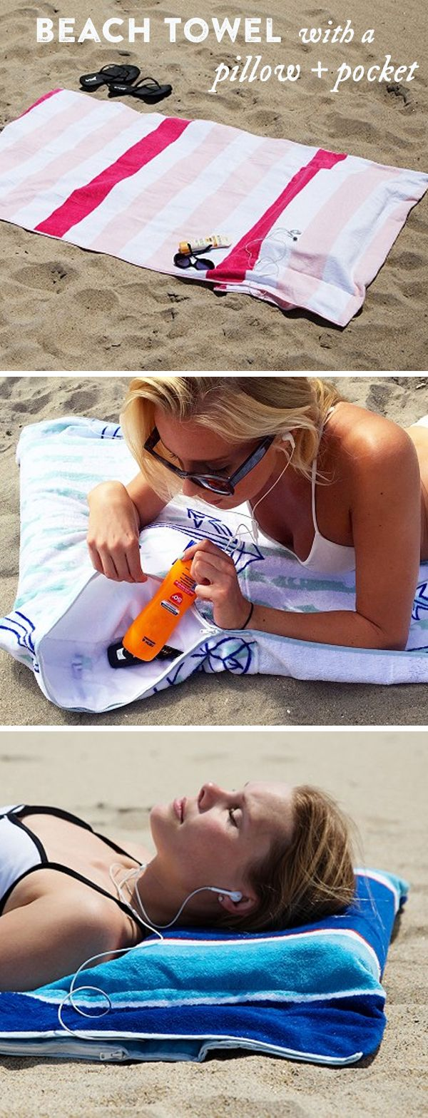 Lounge comfortably with this multi-functional beach towel. Hidden pockets for your valuables and a built-in pillow for your head.