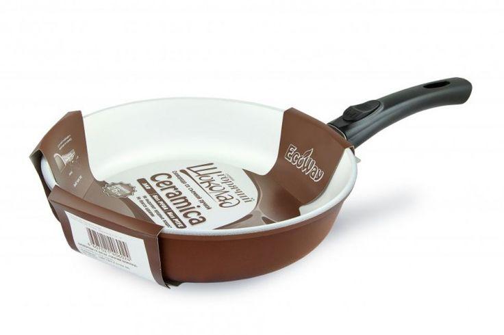 """Сковорода  литая, 26 см, (съемная  ручка), серия """"EcoWay"""", линия """"Горячий шоколад"""""""