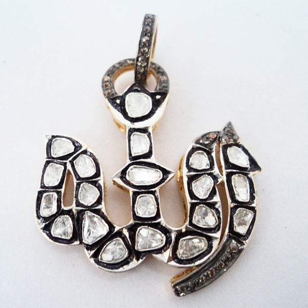 Allah Pave Polki Rose Cut Diamond Silver Pendant