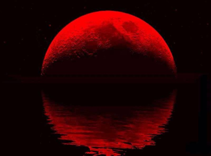 1366x768 red moon ocean - photo #26