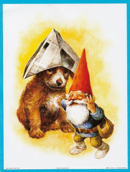 Vintage art print 80s. David the gnome with his friend; the puppy. By Rien Poortvliet.
