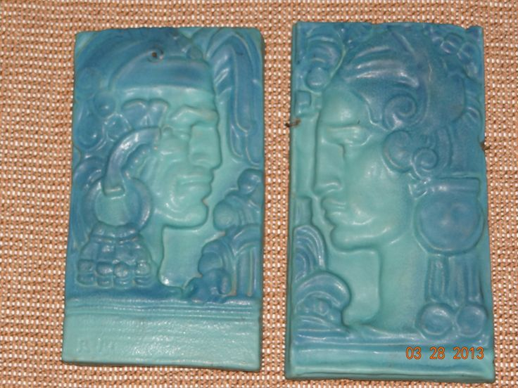 Extremely Rare Art Deco Van Briggle Pottery Wall Plaques