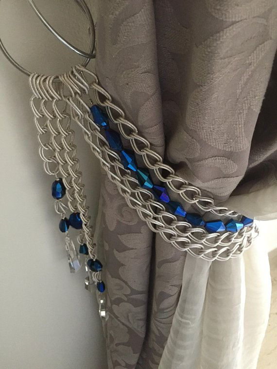 Pair Of Hollywood Glam Tiebacks Blue Faceted Crystals And Silver