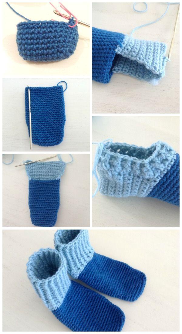 Mejores 14 imágenes de pantuflas medias, calcetines crochet en ...