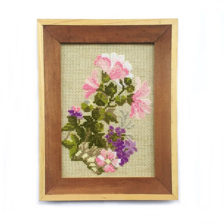#crossstitch #lakeviewneedlework #flowers Flowers Cross Stitch Finished Wall Art, Gift for Mom, 5x7 Ready To Frame, Pink Purple Green Beige Background, Floral Summer Theme Home Decor by LakeviewNeedlework on Etsy