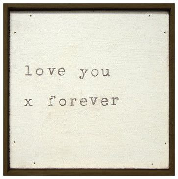 Love You X Forever' Vintage Typewriter Square Wall Art - transitional - Novelty Signs - Kathy Kuo Home