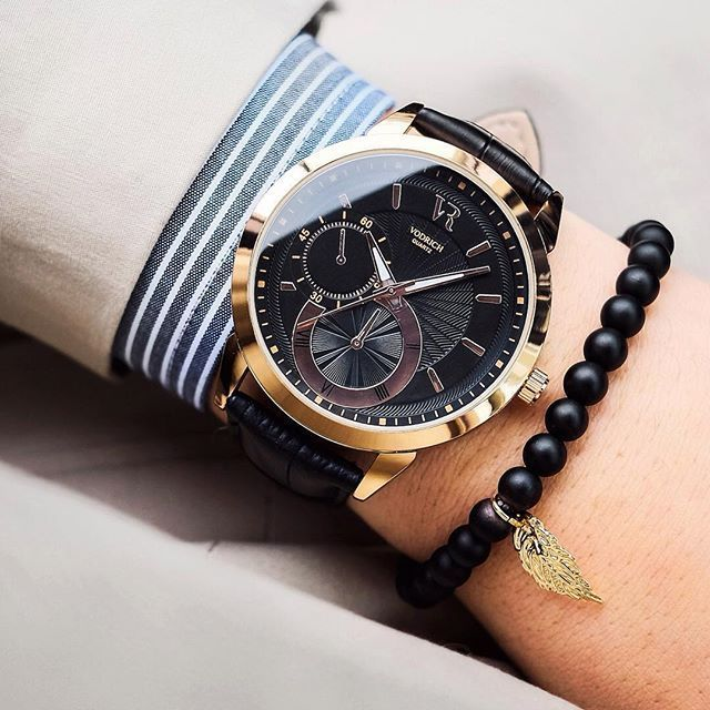 Our friend @Goldenhourtime starting the week on time & on point with this perfectly crafted wrist-game. Details below!  Timepiece: Calibre ($59) Bracelet: Gold Leaf Charm ($20) #vodrich - designer mens watches for cheap, white mens watches, mens citizen watches