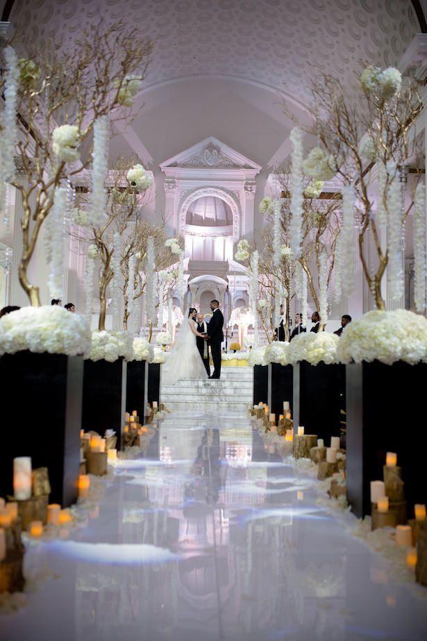 Black And White Glamorous Wedding Wedding Aisle Decorations