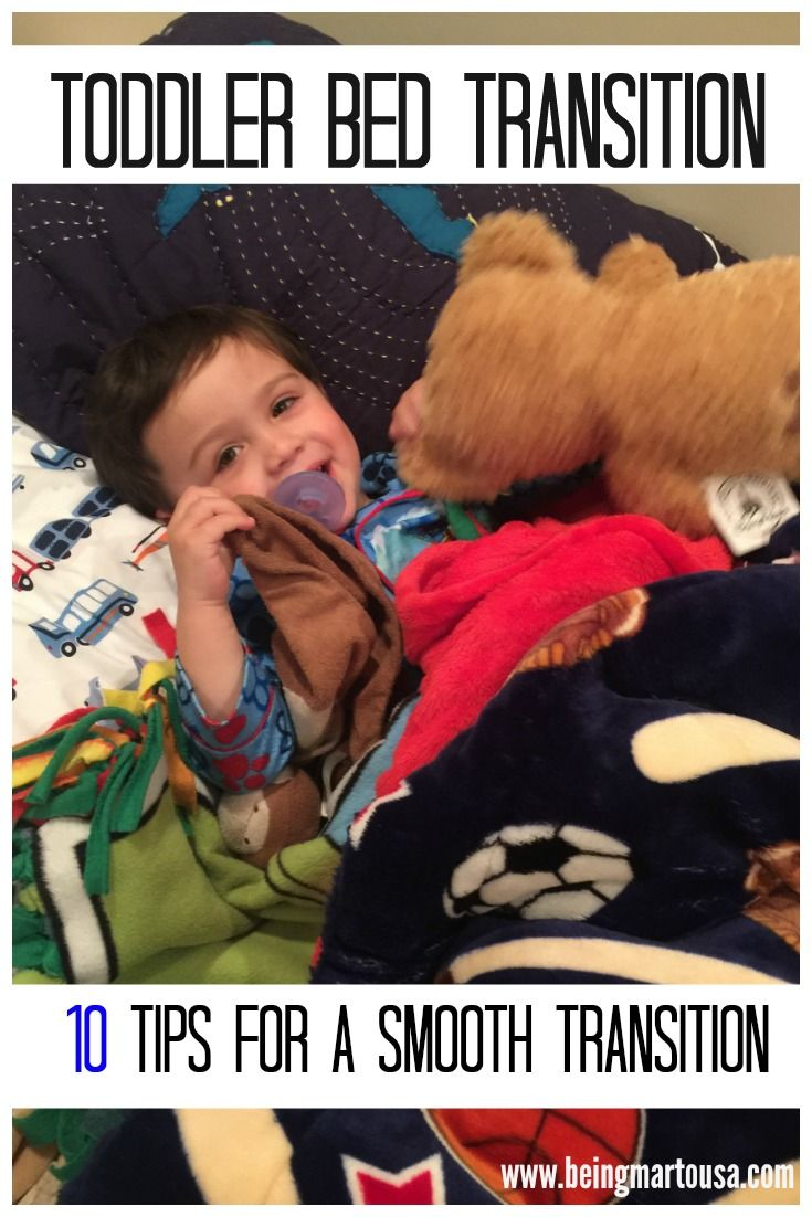 Toddler Bed Training Toddler Bed Training Toddler Bed Training from a mom that just lived the battle. Ten (10) Tips for a smooth transition from crib to bed. Toddler Bed Transition. #toddlers #bigboybed #bigkidbed www.beingmartousa... for more.