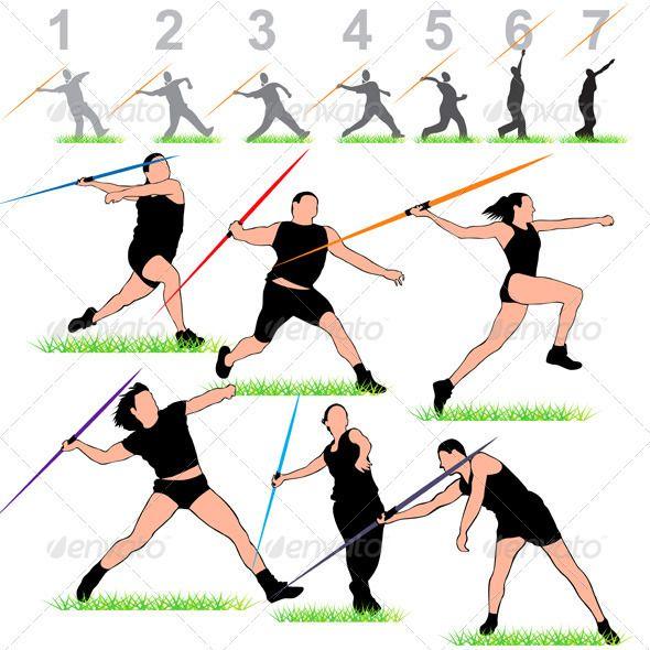 Javeline Athletes Set  #GraphicRiver         Javeline Athletes Silhouettes Set…