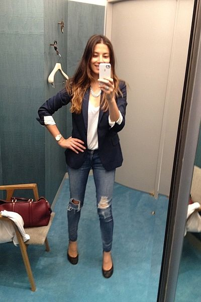 """""""Shopping — Stella blazer. White James Perse t-shirt. Chanel flats. Louis Vuitton bag. Rag and Bone jeans and Mimco silver necklace."""""""
